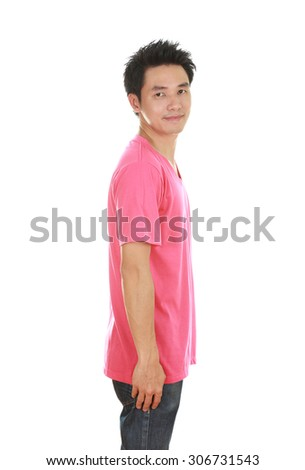 man with pink t-shirt (side view) isolated on white background