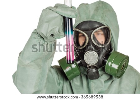 Man with protective mask and protective clothes examines a water sample. portrait isolated over white background. - stock photo