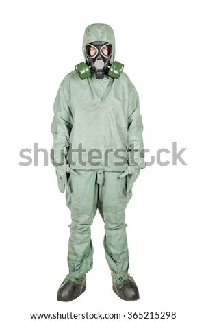 Man with protective mask and protective clothes isolated on white background.