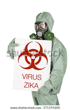 Man with protective mask and protective clothes presenting copy space on her palm, isolated on white  background. - stock photo