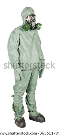 Man with protective mask and protective clothes standing on white studio background.
