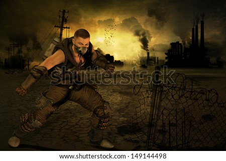 Man with protective suit in the end time scenario - stock photo