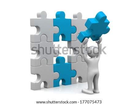 Man with puzzle. Success concept