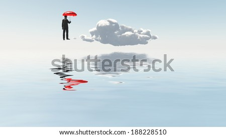 Man with red umbrella float above desert landscape - stock photo