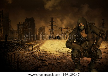 Man with respirator in an apocalyptic scenario