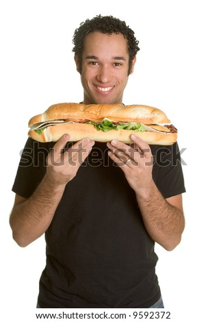 Man with Sandwich - stock photo