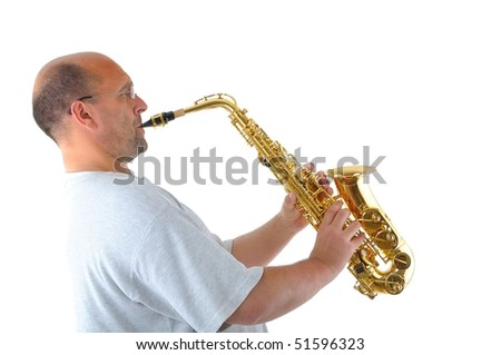 Man with sax - stock photo