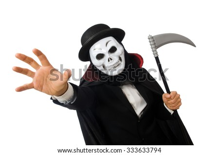 Man with scary mask isolated on white - stock photo