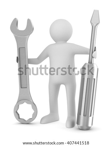 Man with screwdriver and spanner on white background. Isolated 3D image - stock photo