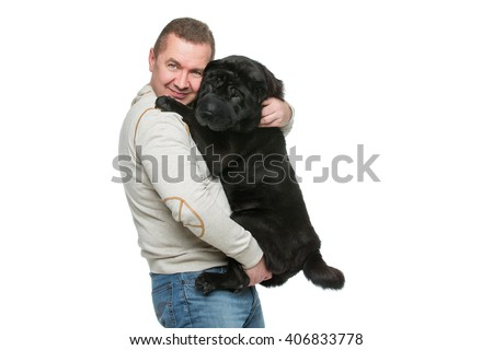Man with sharpei dog - stock photo