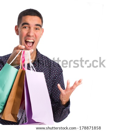 man with shopping bags - stock photo