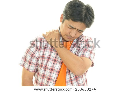 Man with shoulder pain.