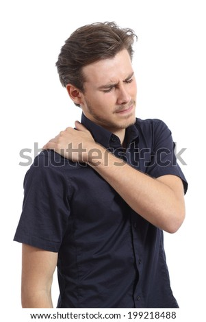Man with shoulder pain and hand pressing it isolated on a white background - stock photo