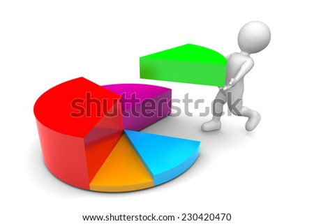 Man with slice of pie chart isolated on white background