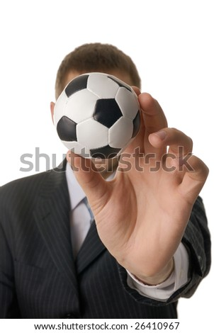 Man with soccer ball isolated on white