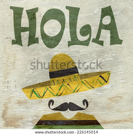 man with sombrero sign on wood grain texture - stock photo
