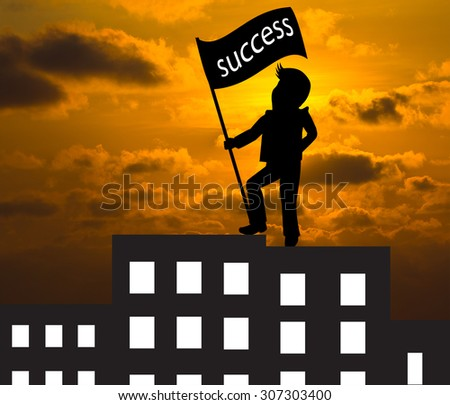 Man with success flag standing on the top of building,Business concept skyline - stock photo
