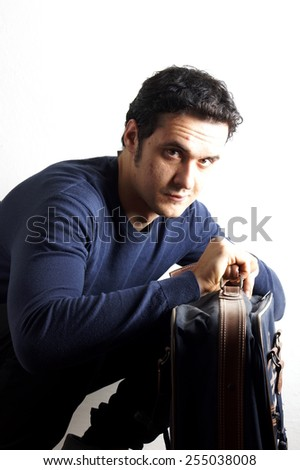 Man with suitcase - stock photo
