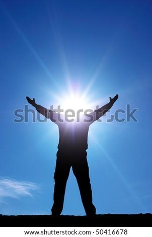 Man with sun head. Conceptual design. - stock photo