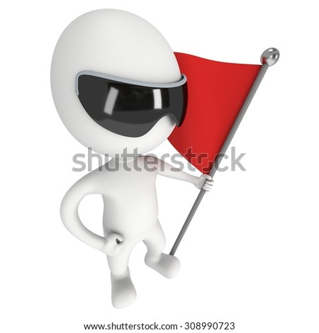 Man with sunglasses, holding a flag with red banner. 3d render isolated on white background.