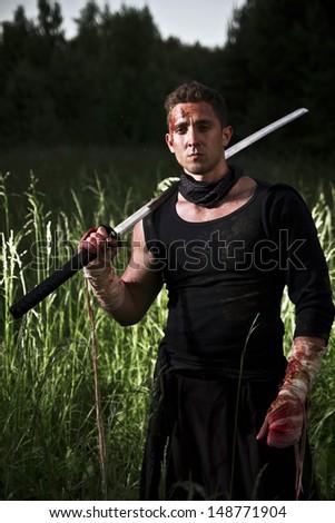 man with sword - stock photo