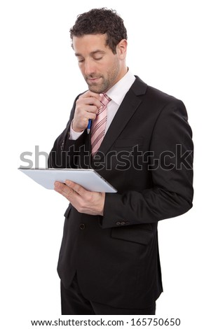 Man with tablet pc isolated on white