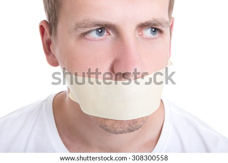 man with tape over his mouth isolated on white background - stock photo