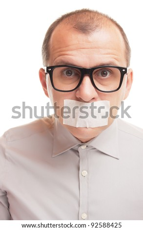 Man with taped mouth isolated on white background - stock photo