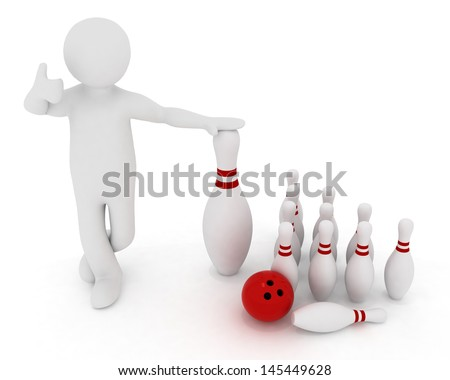 man with the elements of bowling on a white background. 3d illustration - stock photo