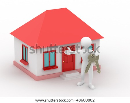 man with the keys of the house. 3d - stock photo