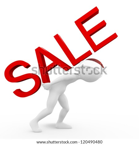 Man with the Sale Inscription - stock photo