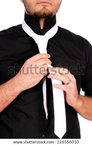 Man with the white tie isolated on white - stock photo
