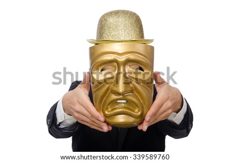 Man with theater mask isolated on white - stock photo