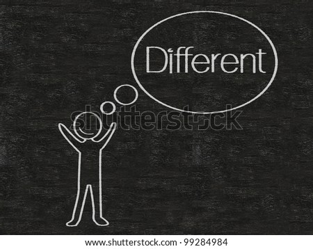 man with think bubble different written on blackboard background, high resolution - stock photo
