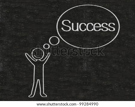 man with think bubble success written on blackboard background, high resolution - stock photo