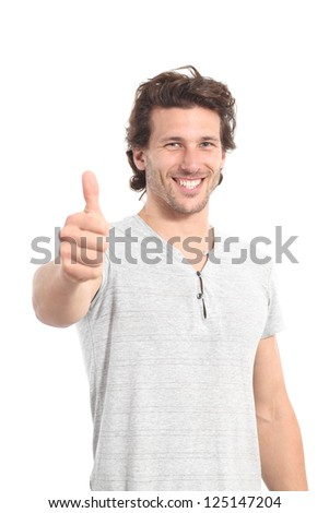 Man with thumb up on a white isolated background - stock photo