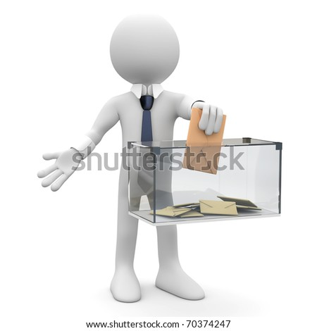 Man with tie and suit, before a ballot box, voting - stock photo