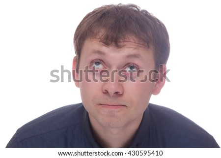 Man with tired face isolated on white background