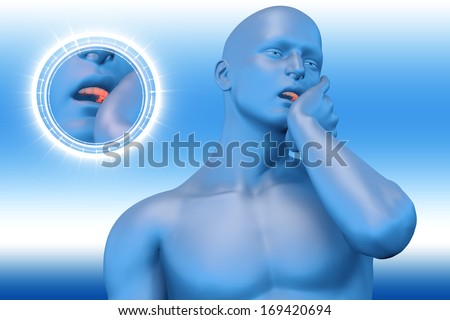 Man with toothache jaw pain - stock photo