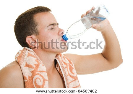Man with towel drinking water