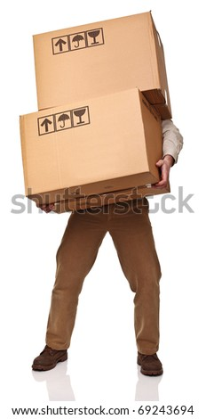 man with two big boxes isolated on white background
