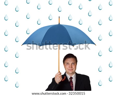 Man with umbrella and rain isolated on white background - stock photo