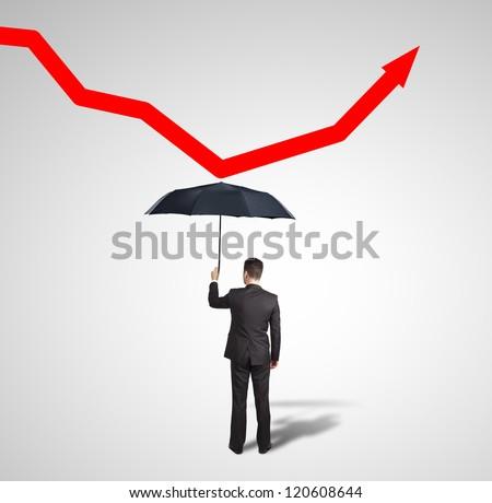 man with umbrella and red arrow