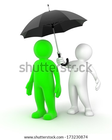 Man with Umbrella (clipping path included) - stock photo