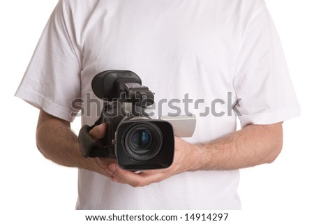 man with video camera isolated on white background