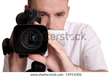 man with video camera, isolated on white background