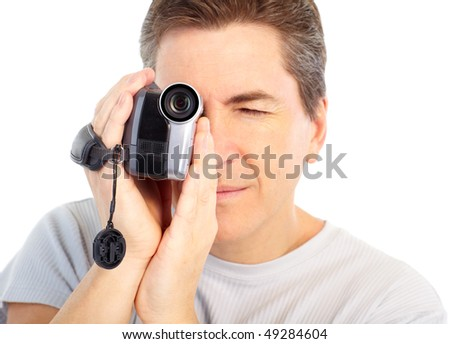 Man with video camera. Isolated over white background - stock photo