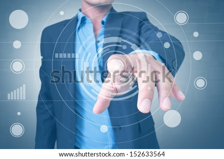 Man With Virtual Screen Interface - stock photo
