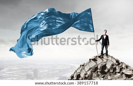 Man with waving flag