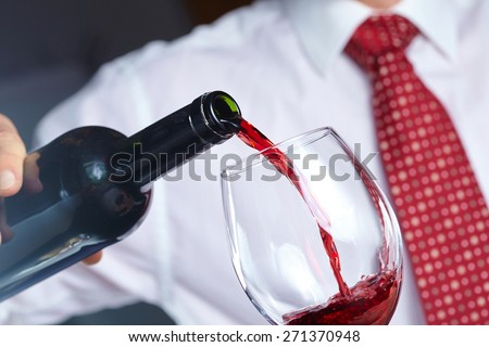 man with wine - stock photo